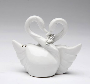 Swan Bird Couple Ceramic Salt and Pepper Shakers, Set of 4