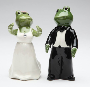Frog Wedding Couple Ceramic Salt and Pepper Shakers, Set of 4