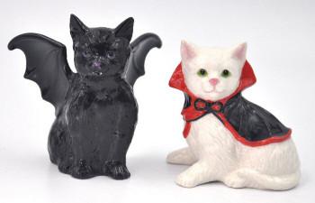 Vampire and Dracula Cat Ceramic Salt and Pepper Shakers, Set of 4