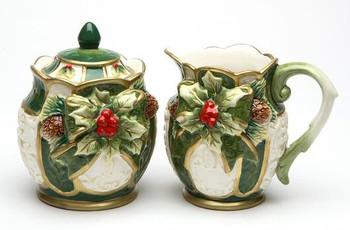 Holly Porcelain Sugar and Creamer Set