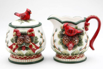 Evergreen Holiday Sugar and Creamer Set with Cardinals and Pinecones