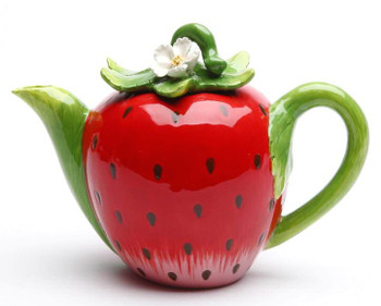 Strawberry Porcelain Teapot with Green Handle