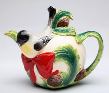 Chickadee Bird Porcelain Teapot