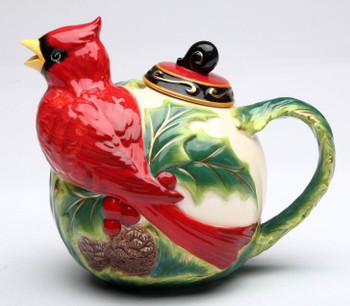 Cardinal Bird Porcelain Teapot