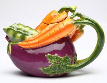 Eggplant and Carrot Porcelain Teapot
