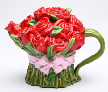 Red Rose Porcelain Teapot