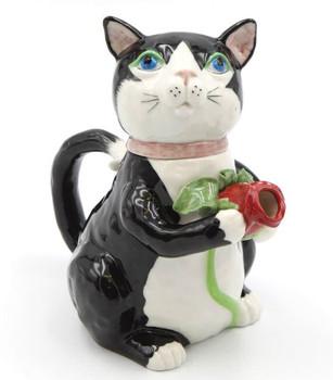 Black Cat Ceramic Teapot