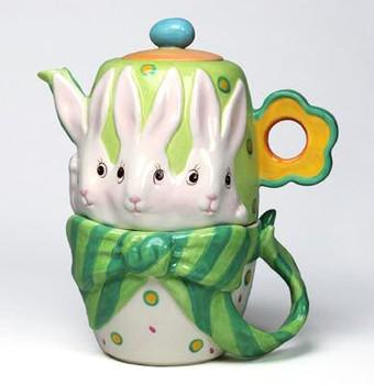 Bunny Rabbit Tea For One Porcelain Teapot