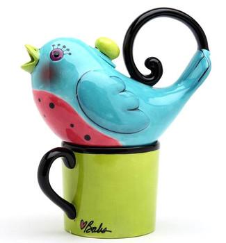 Blue Bird Ceramic Teapot for One