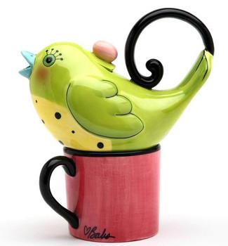 Green Bird Ceramic Teapot for One