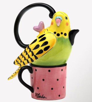 Yellow Parakeet Ceramic Teapot for One
