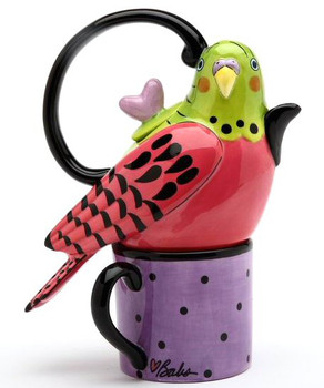Pink Parakeet Ceramic Teapot for One