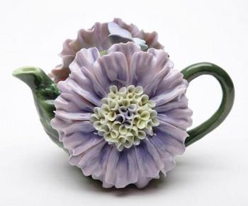 Dahlia Flower Porcelain Teapot