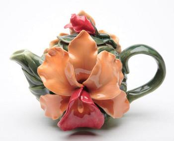Orange Orchid Flower Porcelain Teapot