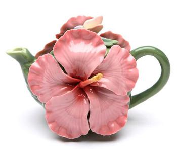 Hibiscus Flower Porcelain Teapot