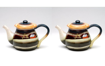 Country Scene Ceramic Teapot, Set of 2