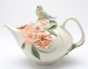 Bluebird and Apple Blossom Ceramic Teapot