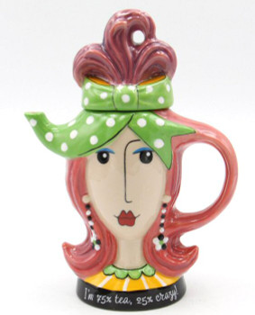 Pink Hair Lady Ceramic Teapot