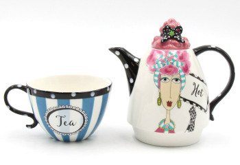 Pink Hair Lady Tea For One Ceramic Teapot