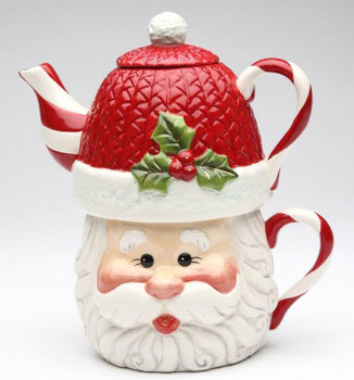 Santa Tea For One Porcelain Teapot and Mug by Laurie Furnell