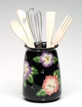 Pansy Flower Ceramic Utensil Holder