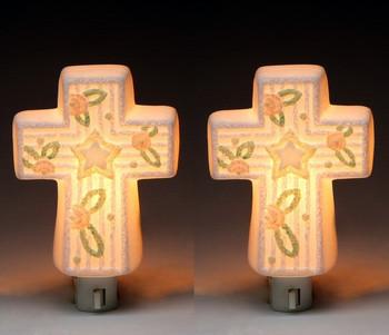 Baby Cross Porcelain Night Light, Set of 2