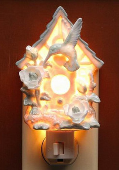 Hummingbird on Birdhouse Porcelain Night Lights, Set of 2
