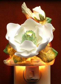Magnolia Flower Porcelain Night Lights, Set of 2