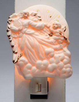 Jade Angel with Cherub Porcelain Night Lights, Set of 2