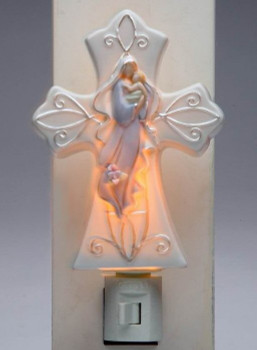 Madonna with Baby Porcelain Night Lights, Set of 2