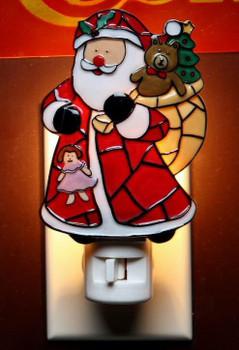 Mosaic Santa with Gifts Night Lights, Set of 2
