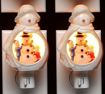 Snowman with Kids Playing Plug-in Porcelain Night Light, Set of 2