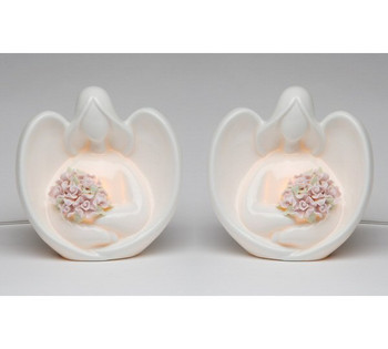 Angel Holding Flowers Porcelain Night Light, Set of 2