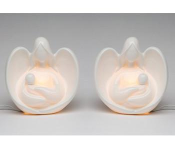 Angel Holding Baby Porcelain Night Light, Set of 2