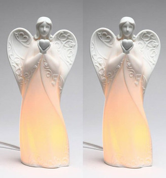 Angel with Heart Porcelain Night Light, Set of 2