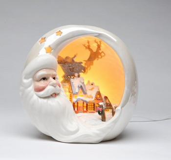 Santa with Christmas House Lighted Scene