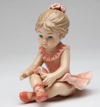 Ballerina Girl Sitting Down Porcelain Sculpture