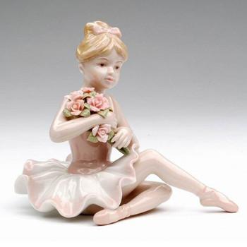 Ballerina Holding Flowers Porcelain Sculpture