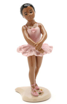 African American Ballerina Wearing a Pink Dress Porcelain Sculpture