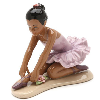 African American Ballerina Wearing Lavender Dress Porcelain Sculpture