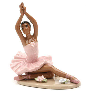 African American Ballerina Sitting in a Pink Dress Porcelain Sculpture