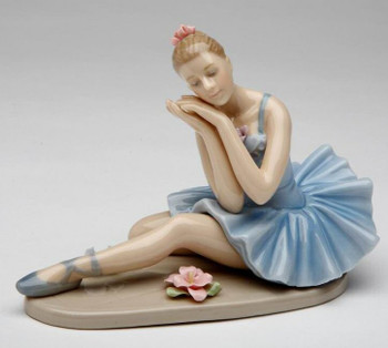 Ballerina in a Blue Dress Dreaming Porcelain Sculpture