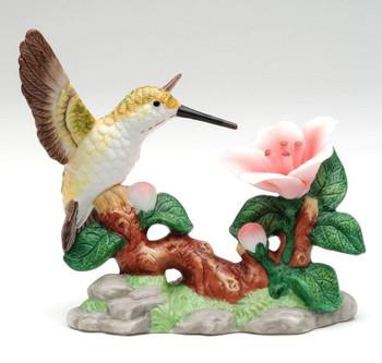 Hummingbird with Red Flower Porcelain Sculpture