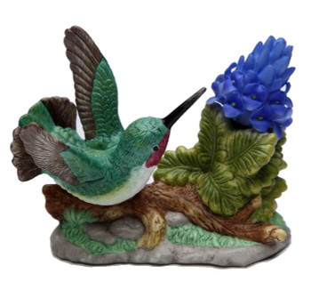 Hummingbird with Purple Orchid Flower Porcelain Sculpture