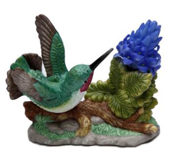 Hummingbird with Purple Orchid Flower Porcelain Sculpture