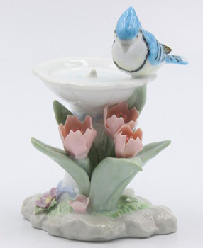 Blue Jay Bird with Tulip Flowers Sculpture