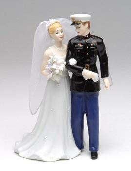 Marine Groom and Bride Porcelain Sculpture
