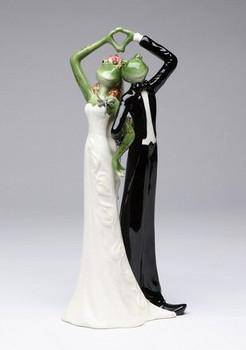 Frog Wedding Couple Porcelain Figurine Sculpture