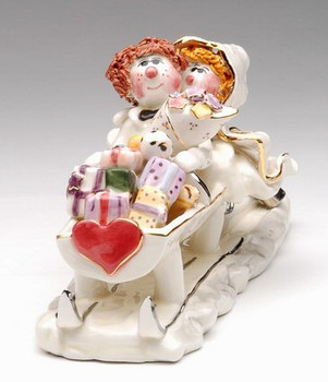 Just Married Bride and Groom Sleigh Sculpture