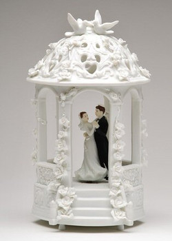 Dancing Bride and Groom with Yamachah in Gazebo Porcelain Sculpture